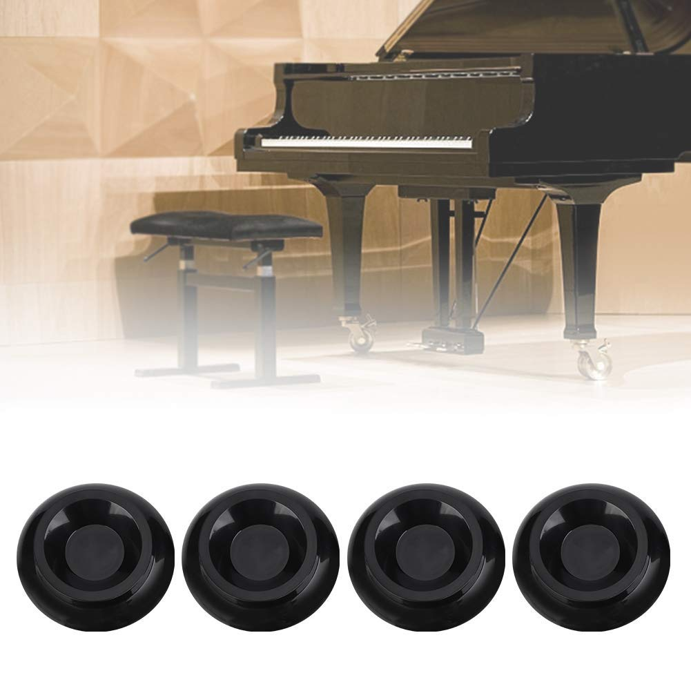 4pcs Grand Piano Caster Cups Black ABS Plastic Piano Leg Cups Pads for Grand Piano