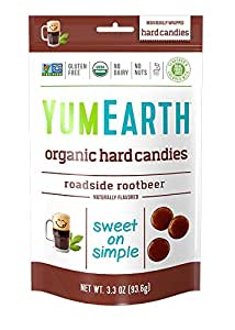 YumEarth Organic Roadside Rootbeer Hard Candy, 3.3 Ounce Pouches (Pack of 6)