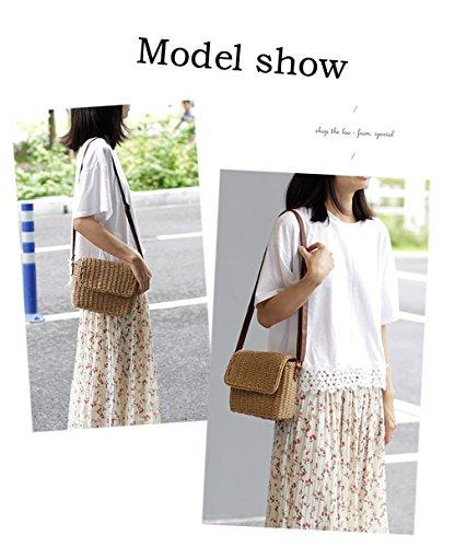 HopeEye Damen Modetrends Stroh Damen Henkeltaschen(dcbb18-1-Brown) 2-weiß