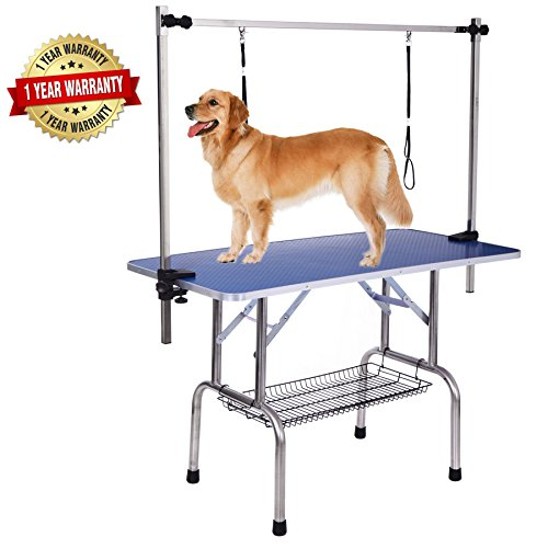 "36"" x 24"" Professional Adjustable Heavy Duty Dog Pet Grooming Table W/Arm & Noose & Mesh Tray,Maximum Capacity Up to 250LB"