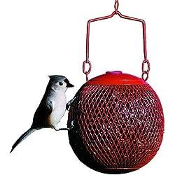 Wild Bird Seed Feeder Hanging Metal Red Ball Squirrel Proof Outdoor Patio Garden