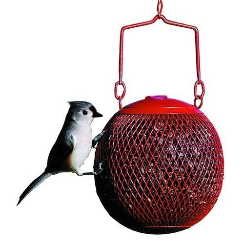 Wild Bird Seed Feeder Hanging Metal Red Ball Squirrel Proof Outdoor Patio Garden