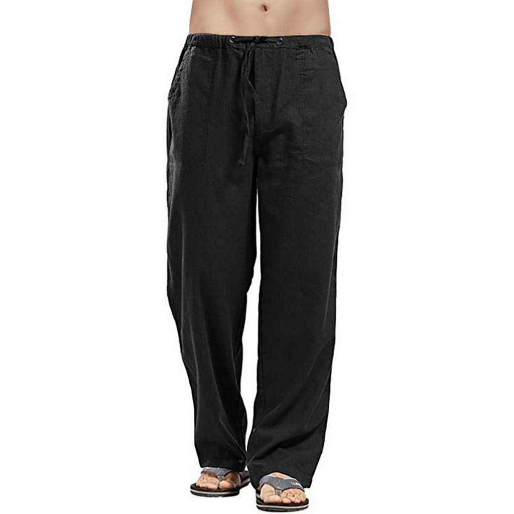 ANJUNIE Men Splicing Printed Overalls Pants Sport Work Casual Loose Fit Workou Trouser(Black,XL) by ANJUNIE