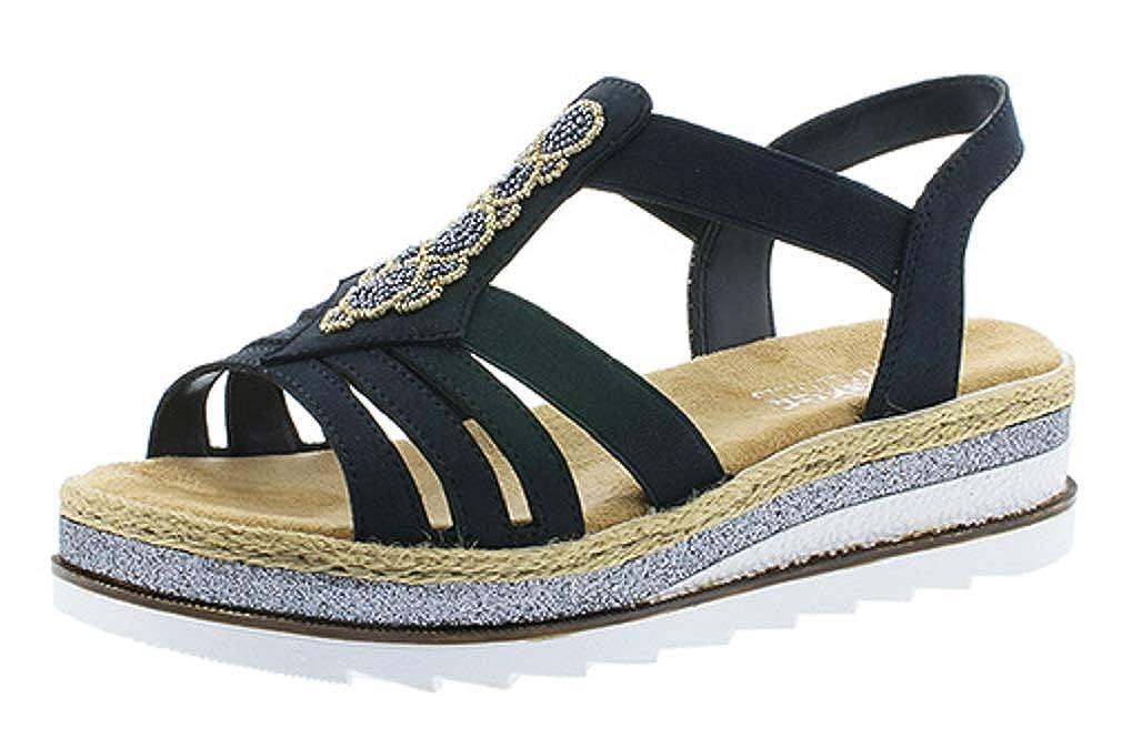 Rieker Damen Sandale Sandalette Sommerschuhe blau 61659 14