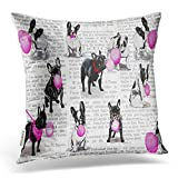 Emvency Throw Pillow Covers Vintage Various French Bulldog Balloon Newspaper Pillowcases Polyester 20 X 20 Inch Square with Hidden Zipper Home Sofa Cushion Decorative Pillowcase