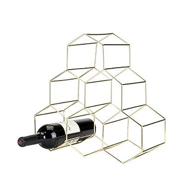 Viski 5213 Belmont Geo Freestanding Wine Racks & Cabinets, Gold