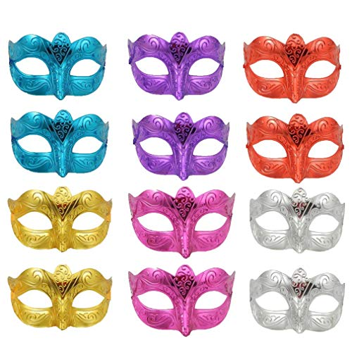 Mardi Gras Kid Mix - Yiseng Masquerade Mask Party Favors Mardi Gras Venetian Mask Halloween Novelty Gifts Pack of 12 (Mix A)