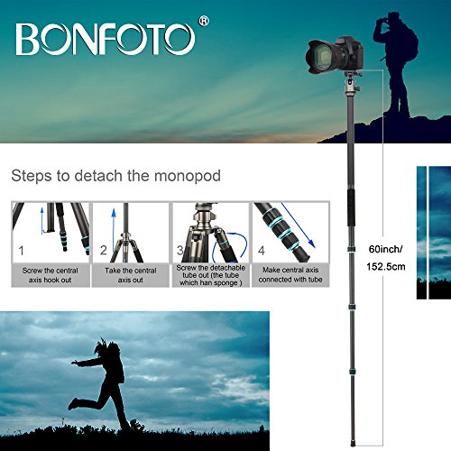 BONFOTO B674C Camera Carbon Fiber Travel Tripod Lightweight Heavy Duty Portable With 1/4'' Quick Release Plate 360 Degree Ball Head And Carry Case For Canon, Sony, Nikon, DSLR Cameras by BONFOTO (Image #8)