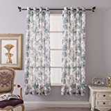 """Cheap Floral Print Curtain Panel, Faux Linen Grommet Top Window Drapes, Room Décor Contemporary Watercolor Petal Printed Curtain Drapes Perfect for Living Room and Bedroom, 54"""" BY 84"""" Set of 2 Green"""