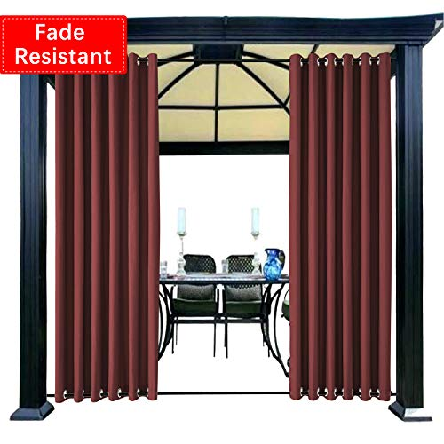 Macochico Waterproof Outdoor Curtains for Patio with Rustproof Grommets at Top and Bottom Fade Resistant Windproof Drapes for Pergola Garden Gazebo Burgundy, 50W by 84L Inch(1 Panel) 84' Pole Top Drapery