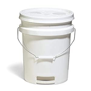 Premium Ergonomic 5-Gallon Bucket with Bottom Grip Handle and Air-Tight, Snap-On Lid with Gasket, HDPE