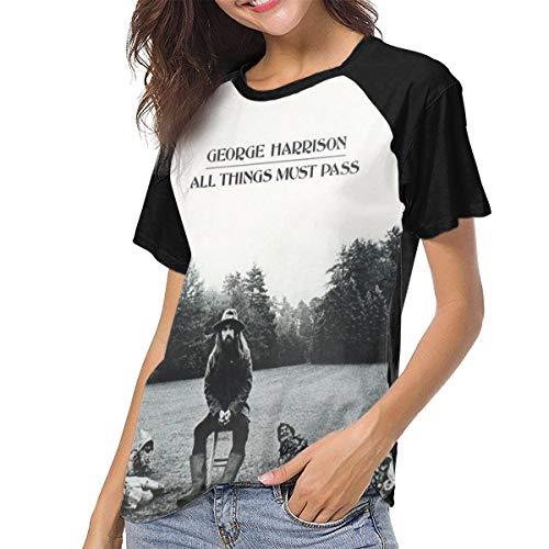 LANDONL George Harrison All Things Must Pass Womens Short Sleeve Raglan Baseball T-Shirt Black L (George Harrison All Things Must Pass T Shirt)