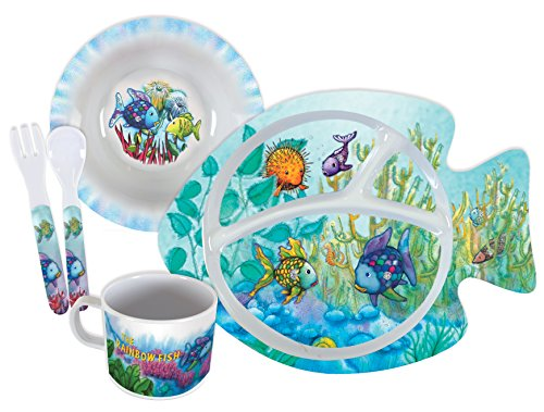 - Stephan Baby Rainbow Fish 5 Piece Melamine Dinnerware Set