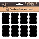 Fancy Rectangle Mini Chalkboard Labels Set of 40 - Reusable Blackboard Stickers for the Kitchen, Pantry, Wine Glasses, and Mason Jars