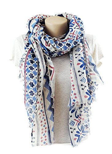 MIMOSITO Fashion Lightweight Elegant Geometric Patterned Wrap (Blue Geometric) (White Floral Scarf)