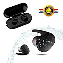 Bluetooth Headphone K9100,XIAOWU Wireless Earbuds Dual Stereo Headset Noise Cancelling Sports Headphones with Portable Charging Station and Mic For Samsung iPhone 7 Plus Sony Apple iPad Android IOS … (K9100)