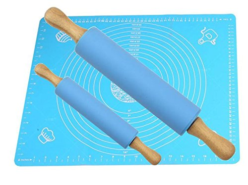 MBB Wood Handle Silicone Rolling Pin Set -2 Blue Dough Rollers (15 inch & 8.8 inch) 1 Blue Knead Dough Silicone Mat 19.7 inch15.7 inch