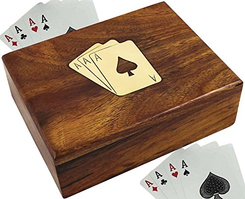 SKAVIJ Wooden Playing Card Holder 1 Deck Case Decorative Storage Box (4.2