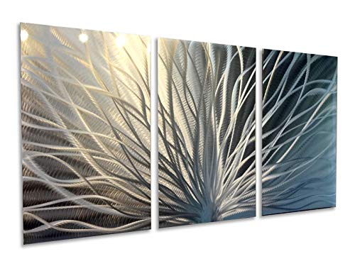 - Miles Shay Metal Wall Art, Modern Home Decor, Abstract Wall Sculpture Contemporary- Radiant Silver (3 Panel- 47 inch Wide)