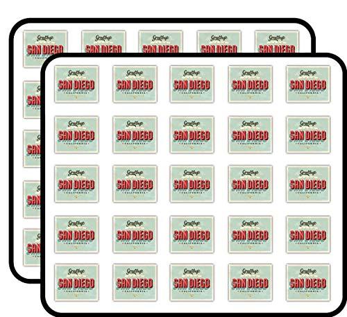 San Diego City California USA Vintage Label Art Decor Sticker for Scrapbooking, Calendars, Arts, Kids DIY Crafts, Album, Bullet Journals 50 Pack -
