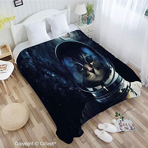 (Lightweight Cozy Flannel Blanket,Astronaut Kitty Extragalactic Mission in Orbit Terestial Image,Perfect for Camping,Picnic & the Beach with a Waterproof(72.83