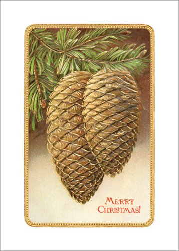 Lucca Paperworks Pinecones Winter Holiday Card, 5x7,