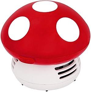 Small Vacuum Cleaner Creative Desktop Vacuum Cleaner Cartoon Mushroom Mini Keyboard Dust Collector (Red)