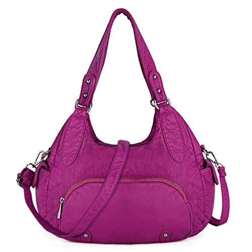 UTO Mujer Bolso Monedero mediano PU lavado de cuero Estilo hobo Bolsa de hombro con cremallera frontal Caqui Púrpura