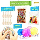 Water Beads Pack (30000 Small water beads /150 Large Jumbo water beads/10 Balloons) Mixed Jelly Beads Water Gel Balls,Sensory Toys and Decoration