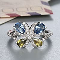 Women Fashion Jewelry 925 Silver Aquamarine & Peridot Butterfly Wedding Ring New (9)
