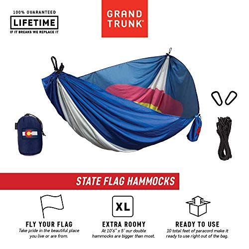Grand Trunk Colorado Flag Hammock - Camping Single, Tree Hanging Kit Included, Parachute Nylon, Portable, Indoor Outdoor, Travel, Backpacking, Survival ()
