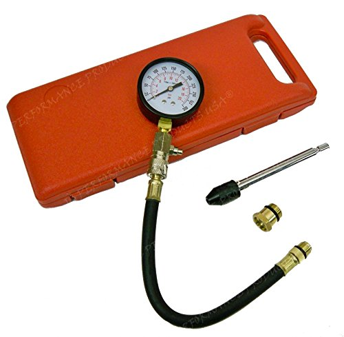 JC Performance - Small - Large Engine Compression Tester Gauge Kit Set Tool Spark W Plug Adapters ()