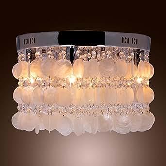 LightInTheBox Modern White Shell + Crystal Home Ceiling Light Fixture Flush Mount, Pendant Light Chandeliers Lighting for Bedroom, Living Room