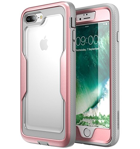 i-Blason Case for iPhone 8 Plus 2017/iPhone 7 Plus, [Magma Series] [Heavy Duty Protection] Shock Reduction/Full Body Bumper Case with Built-in Screen Protector (RoseGold)