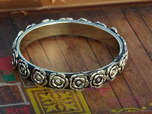 Silver Rose Pattern GiftPiper Oxidized Metal Bangle 2.6