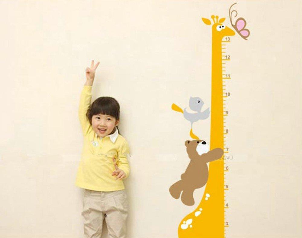 Height Chart Giraffe /& Animal Friends Cartoon Wall Art Stickers Colourful Decorative Removable DIY Vinyl Wall Decals 10-130cm Ruler Nursery Kid/'s Playroom Mural Children/'s Bedroom