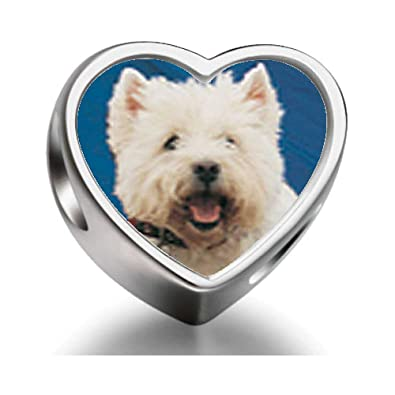 de3f19623 925 Sterling Silver Charms Beads West Highland Terrier Heart Photo Charm  Beads Fit Pandora Chamilia Biagi beads Charms Bracelet: Amazon.co.uk:  Jewellery