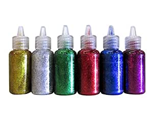 6 color glitter glue set 20 milliliter bottles - classic colors - green, gold, red, silver, blue, and purple