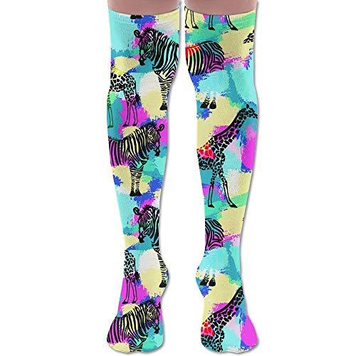 Unisex Over Knee High Socks Camouflage Zebra 3D Print Boot Stockings Leg Warmer -