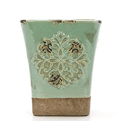 "Hosley's Seafoam Green, Ceramic Vase, 9"" High. Ideal for Dried Floral, Gift For Wedding, Bridal, Garden O7 - PRODUCT: Hosley's Seafoam Ceramic Vase USES: These are just the right use for dry floral or greenery arangements, as a decor next to fireplaces and as a planter, for both fresh flowers or plants (must use protective liner if used). It can be the right gift for wedding or special occasions. BENEFITS: They can accent your home or office for the right decor with or without dry floral or greenery additions. - vases, kitchen-dining-room-decor, kitchen-dining-room - 51yVsj2meSL. SS400  -"