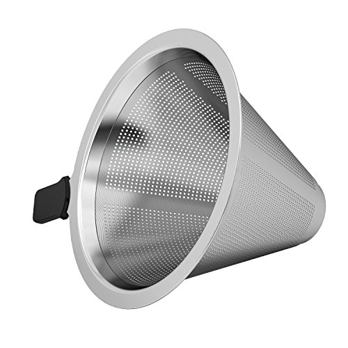 Coffee Gator Micro-mesh Stainless Steel Coffee Filter - For Coffee Gator 10floz/300ml and 14floz/400ml Pour Over Brewers - Fits Most Tea And Coffee Cups ()
