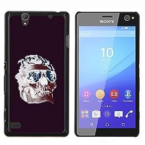 YiPhone /// Prima de resorte delgada de la cubierta del caso de Shell Armor - Frescos Shades Llamas cráneo púrpura de la Muerte - Sony Xperia C4
