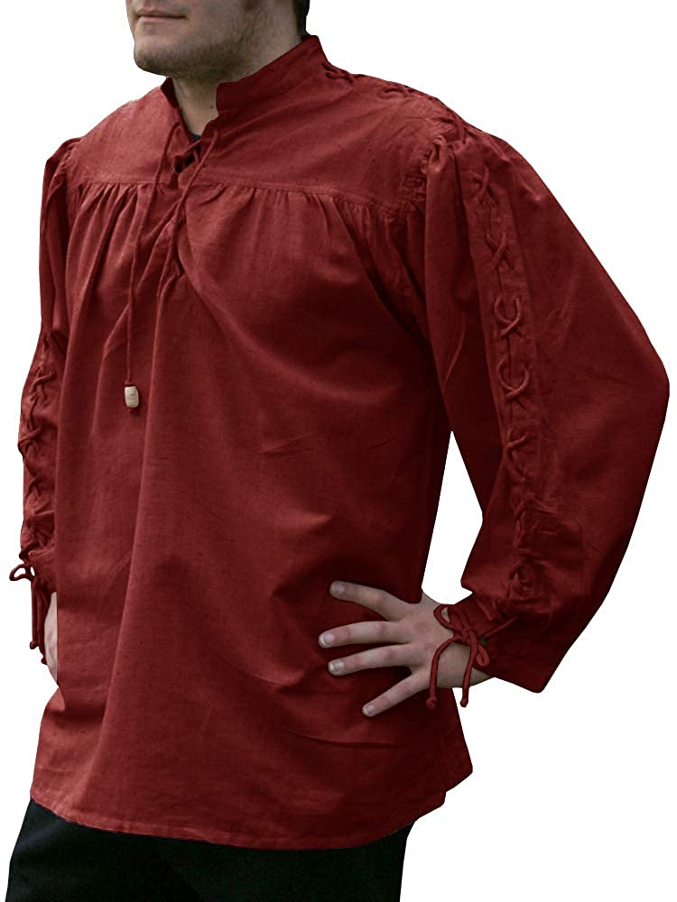 Amazon.com: Camisa pirata medieval renacentista de encaje ...