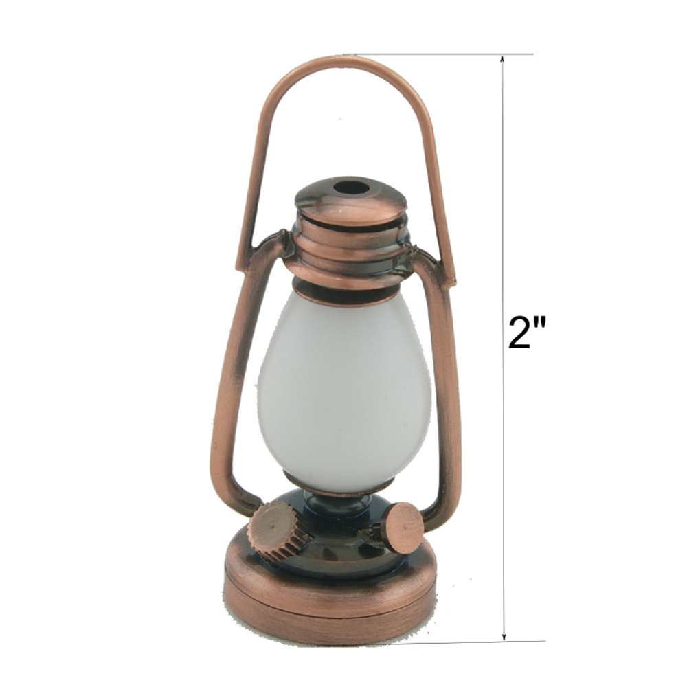 Miniature Lighting Led Battery Light Copper Oil Lamp with On/Off Switch for Dollhouse Miniature 1:6 Barbie Scale