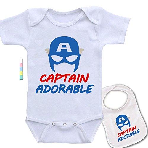 Captain Adorable-Cute Captain America Marvel Comics Baby Bodysuit Onesie & Bib