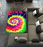 Custom Colorful Tie Dye Area Rugs Carpet,Colorful Tie Dye Modern Carpet Floor Rugs Mat for Home Living Dining Room Playroom Decoration Size 5'x3'3″
