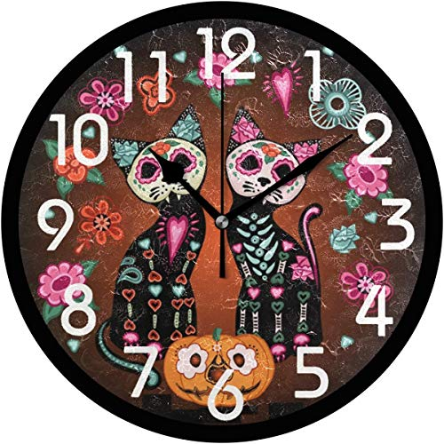 - 128 buyloii Day of The Dead Mexican Sugar Cats Pumpkins and Flowers Pattern Round Wall Clock Decorative, Battery Operated Quartz Analog Quiet Desk Clock for Home,Office,School 10 Inch