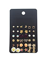 18 Pairs Assorted Multiple Studs Earring Set for Women