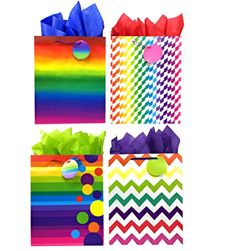 Rainbow Gift Bags + Tissue Paper, 4 Large Bags + Tissue Paper, Colorful All-Occasion -