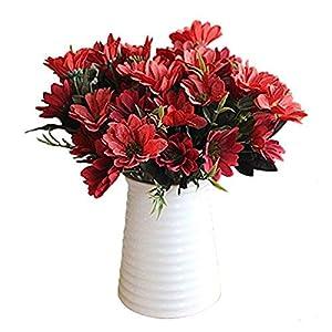 MARJON FlowersA Bunch of Man Mad Bridal Daisy Flowers Fake Silk Bouquet Home Party Decor Props Artificial(red) Bouquet Length 30cm per Flower 92